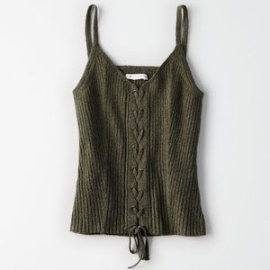 AEO Ribbed Knit Lace Up Corset Cami Tank String S